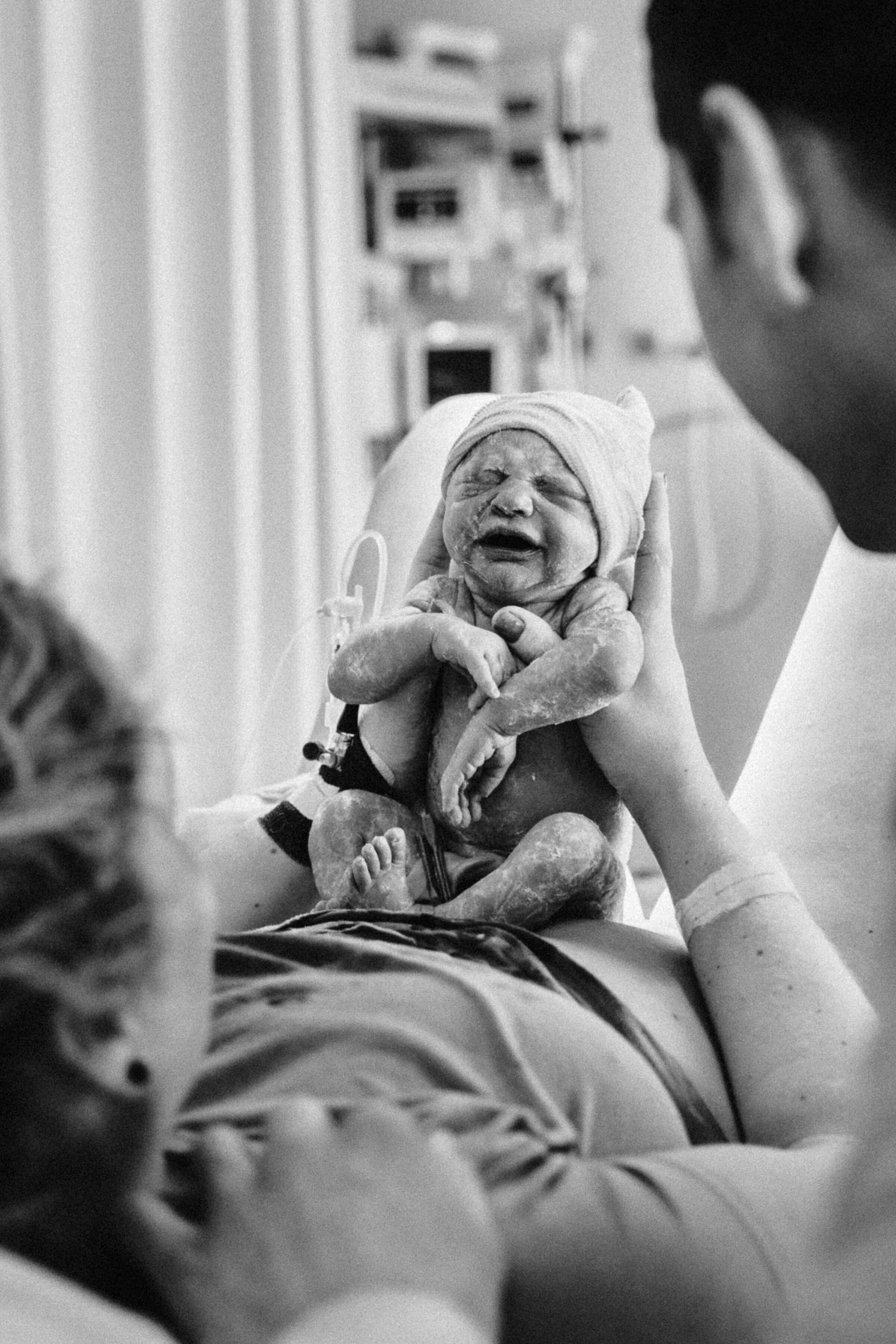 Geboortefotografie van een geboorte